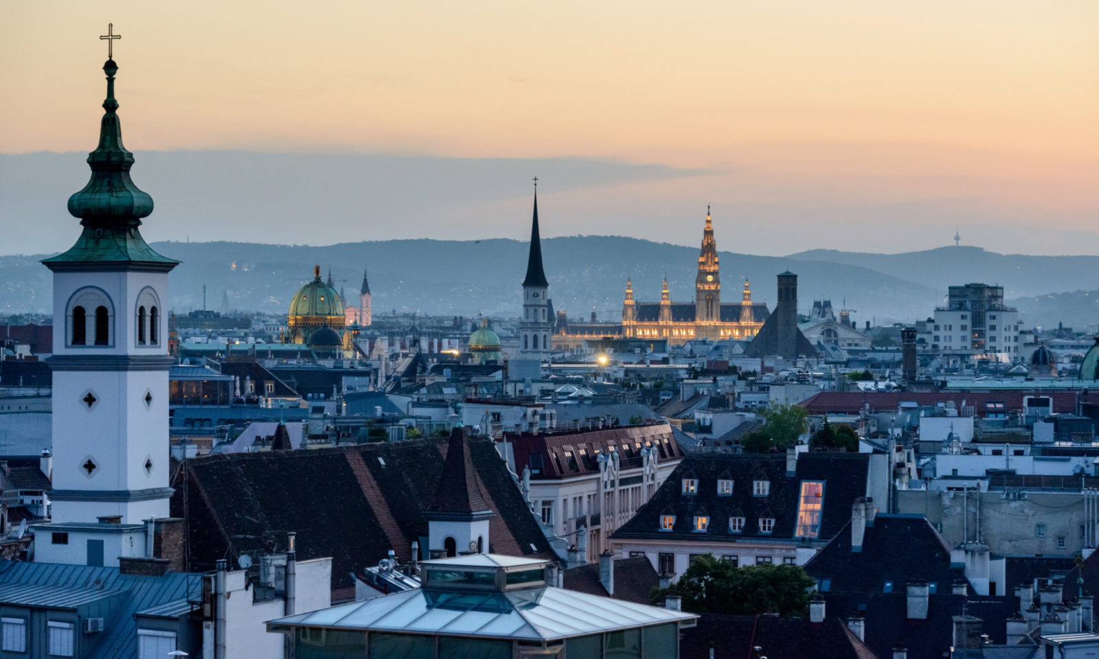 Vienna cityscape at sunset